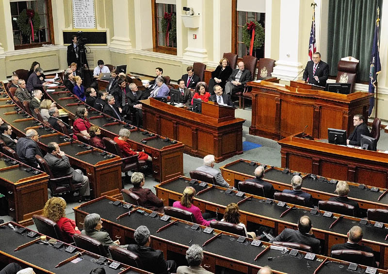 Gov. Paul LePage gives his first State of The State address to a joint session of the Maine House and Senate he on Tuesday night at the State House in Augusta.