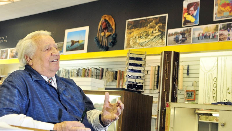 """This November photo shows Levi """"Sonny"""" Chavarie, owner of Sonny's Museum and Mineral Shop, in the shop on Water Street in downtown Augusta."""