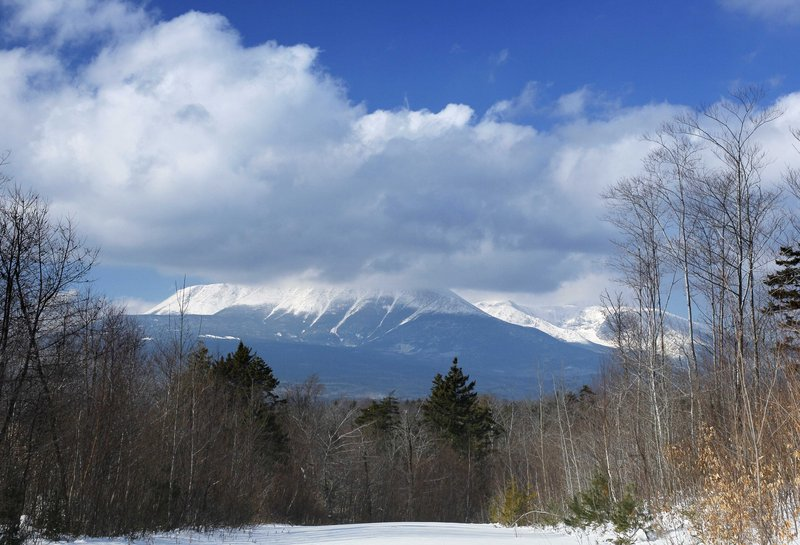 Clouds hide the summit of Mount Katahdin in Baxter State Park in January in this view from land owned by Roxanne Quimby in Township 3, Range 8.
