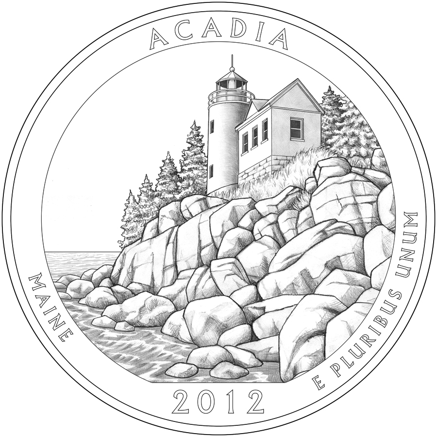 The U.S. Mint's design for the Maine quarter to be issued this summer. The designer is Barbara Fox and the engraver is Joseph Menna.