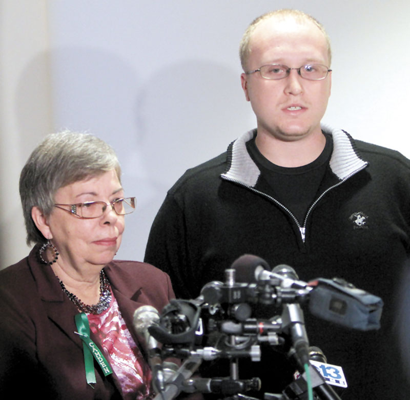 Julianne McCrery's mother Lu Rae McCrery, left, and Julianne's son Ian McCrery talk to reporters Friday following a sentencing hearing in Rockingham County Superior Court, Friday in Brentwood, N.H. Julianne McCrery was sentenced to 45 years in prison in the death of her 6-year-old son Camden.