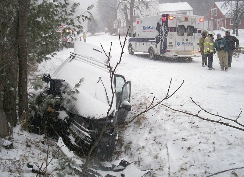 This photo from the Maine State Police shows the fatal accident scene in Vienna.