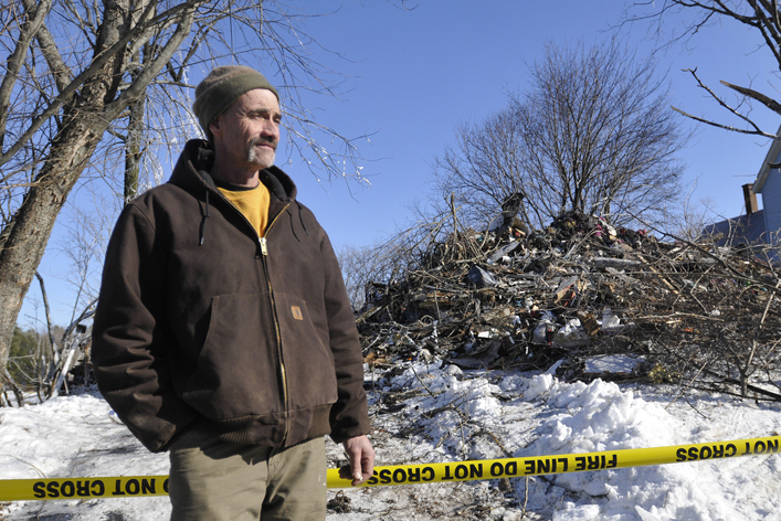 Mark Blanchette at the scene where his brother-in-law Sherwood Campbell lost his life while trying to save his dogs.