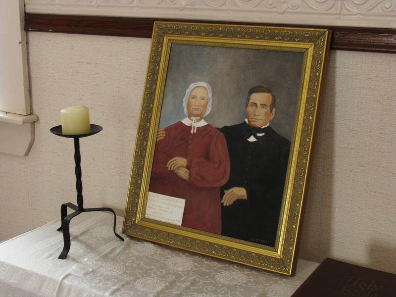 """CONDUCTORS: A painting by Roger Sprague depicts Wingate and Mary Haines, Quakers from Hallowell who were the founders of Friends Church in Maple Grove and """"conductors"""" along the Underground Railroad."""