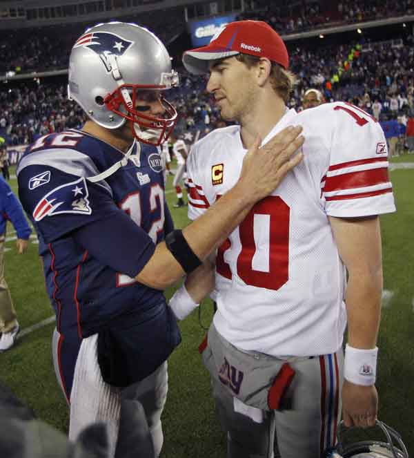 A TREND: New England Patriots quarterback Tom Brady, left, has lost to Eli Manning and the New York Giants two straight times — in Super Bowl XLII four years ago and most recently on Nov. 6 in Foxborough, Mass. They meet again today in Super Bowl XLVI in Indianapolis.