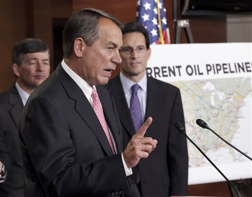 House Speaker John Boehner of Ohio, center, accompanied by House Majority Leader Eric Cantor of Va., right, and Rep. Jeb Hensarling, R-Texas, during a news conference on Capitol Hill in January. (AP Photo/J. Scott Applewhite)