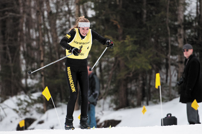 STRONG FINISH: Maranacook senior Abby Mace powers her way down the home stretch Saturday at Titcomb Mountain. Mace won the Kennebec Valley Athletic Conference girls freestyle title Wednesday and added the classical pursuit championship Saturday afternoon.