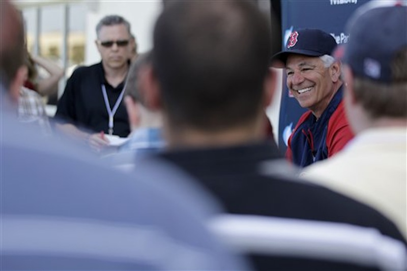 Boston Red Sox manager Bobby Valentine speaks during a news conference following a baseball spring training workout Tuesday, Feb. 21, 2012, in Fort Myers, Fla. (AP Photo/David Goldman)