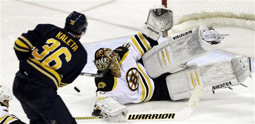 Buffalo Sabres' Patrick Kaleta (36) shoots the puck on Boston Bruins goalie Tuukka Rask, of Finland, during the third period of an NHL hockey game in Buffalo, N.Y., Friday, Feb. 24, 2012. The Sabres won 2-1 in a shootout. (AP Photo/David Duprey)