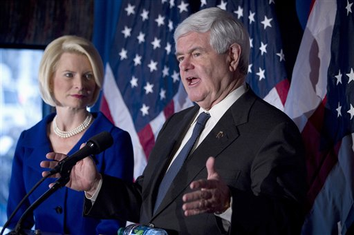 In this Feb. 7, 2012, photo, Republican presidential candidateNewt Gingrich, accompanied by his wife Callista, speaks in Cincinnati, Ohio. Presidential campaigns and outside political groups began filing detailed financial reports Monday, offering a behind-the-scenes glimpse into the identities of wealthy supporters who will help elect the next president and details on how tens of millions of campaign dollars have been spent.