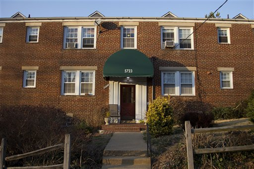 The entrance to Amine El Khalifi's apartment building in Arlington, Va., El Khalifi was arrested Friday near the U.S. Capitol as he allegedly was planning to detonate what he thought was a suicide vest given to him by FBI undercover operatives.