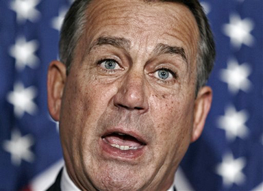 House Speaker John Boehner of Ohio speaks during a news conference on Capitol Hill on Tuesday following a GOP strategy session.