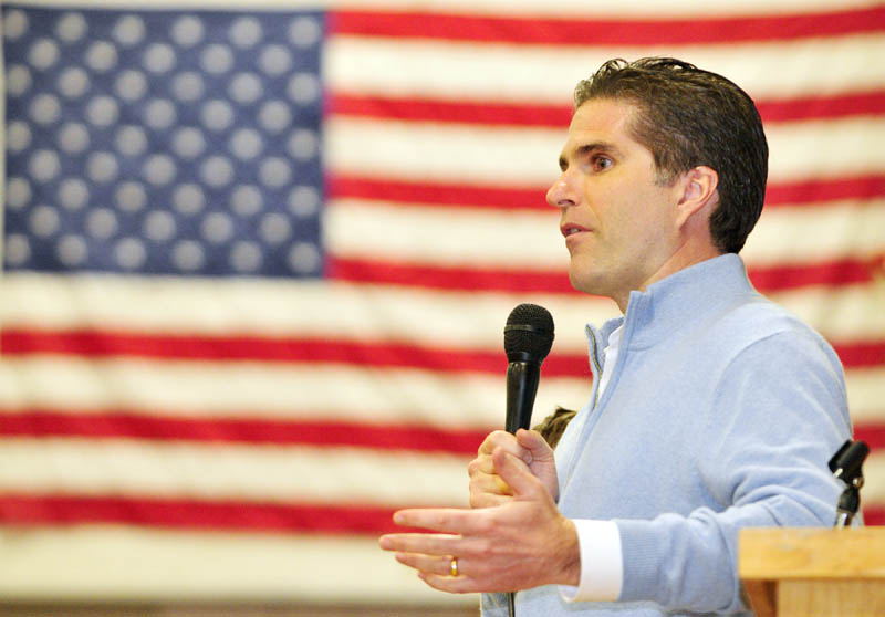 Tagg Romney during the Kennebec County Super Caucus at Farrington School in Augusta on Saturday.