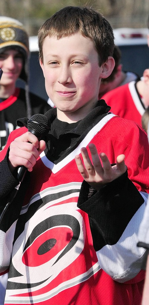 HOME ICE FOR YOUTH: Farmingdale's Thomas Arps, 12, was among about 250 people — many of them youth hockey players like himself — who attended the groundbreaking ceremonies for a new ice arena on the Whitten Road in Augusta. Formerly known as Kennebec Ice Arena, the new rink will be called The Bank of Maine Ice Vault.