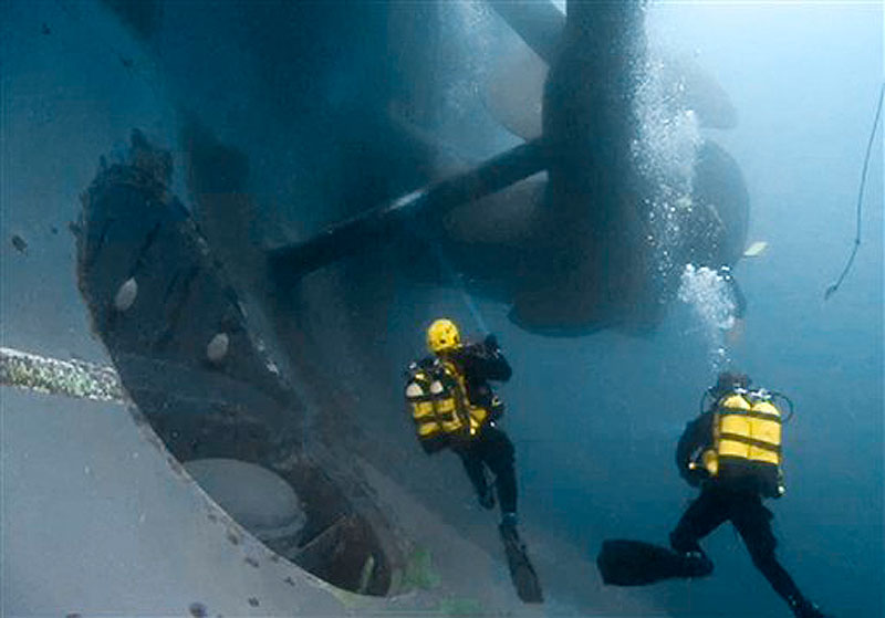 In this photo released by the Italian Fire Brigade, firemen scuba divers check one of the propellers of the luxury cruise ship Costa Concordia that ran ashore off the Tuscany island of Isola del Giglio in Italy. A veritable treasure now lies beneath the pristine Italian waters where the massive cruise liner ran aground last month. (AP Photo/Vigili del Fuoco)
