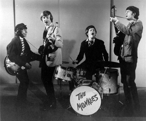 """This 1966 photo shows The Monkees. From left are Davy Jones, Peter Tork, Micky Dolenz and Mike Nesmith. Jones sang lead vocals on songs like """"I Wanna Be Free"""" and """"Daydream Believer."""""""