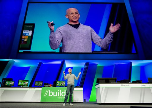 In this September 2011 photo, Steven Sinofsky, president of Windows and Windows Live, gives the keynote address and a preview of Windows 8 at the Microsoft Build Windows conference at the Anaheim Convention Center in Anaheim, Calif. A test version of the revamped operating system will be unveiled Wednesday.