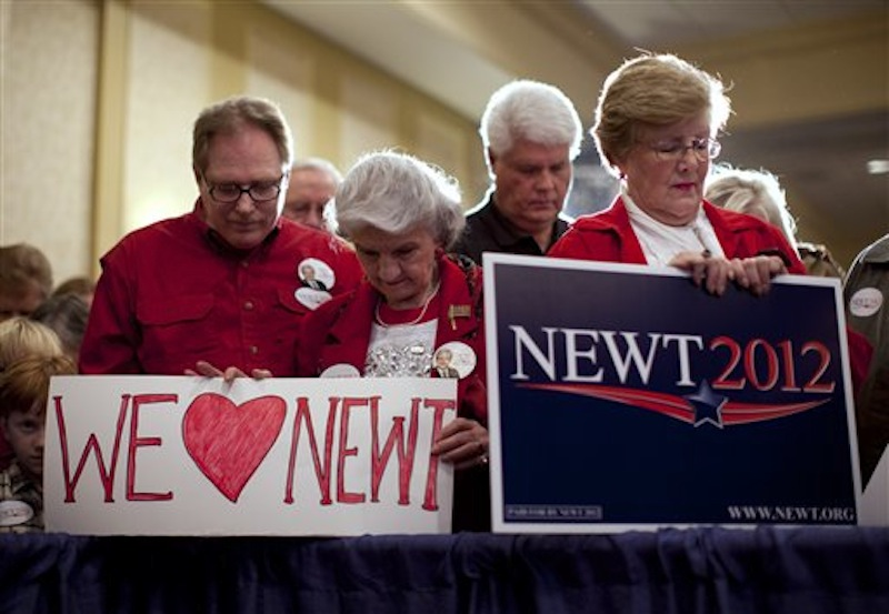 Supporters of Republican presidential candidate and former House Speaker Newt Gingrich wait during his campaign stop on Saturday, Feb. 18 in Atlanta, Ga. (AP Photo/Evan Vucci)