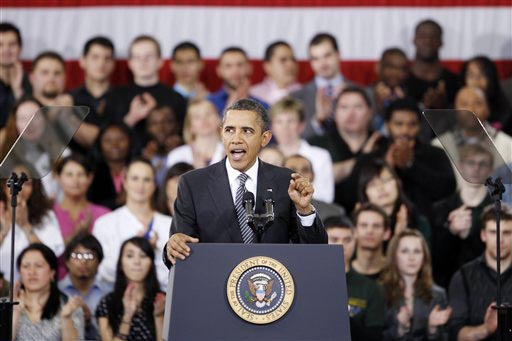 """President Barack Obama speaks about the """"Community College to Career Fund"""" today at Northern Virginia Community College in Annandale, Va."""