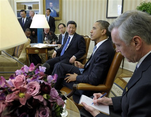 President Barack Obama meets with Chinese Vice President Xi Jinping, today in the Oval Office.