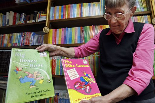 Jan Berenstain displays a copy of the first book, left, she and husband, Stanley Berenstain, created and the second book, which was the first to actually call the characters Berenstain Bears.