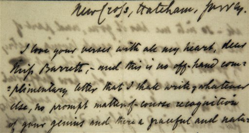 "A detail of the first love letter sent by poet Robert Browning to poet Elizabeth Barrett in January of 1845. The letter begins: ""I love your verses with all my heart, dear Miss Barrett."""