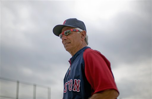 Boston Red Sox manager Bobby Valentine watches over batting practice during spring training on Sunday in Fort Myers, Fla.