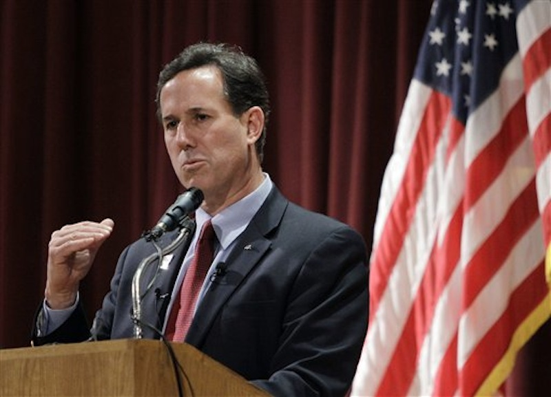 Republican presidential candidate Rick Santorum speaks during a campaign rally at the El-Zaribah Shrine Auditorium on Tuesday, Feb. 21 in Phoenix, Arizona. (AP Photo/Eric Gay)