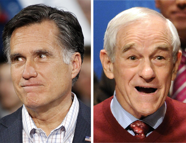 Republican presidential candidates Mitt Romney and Ron Paul.