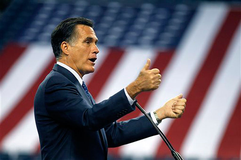 Republican presidential candidate Mitt Romney speaks to the Detroit Economic Club at Ford Field in Detroit, Friday, Feb. 24, 2012. (AP Photo/Gerald Herbert)