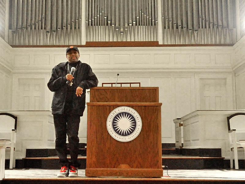 GUEST SPEAKER: Filmmaker and SHOUT! keynote speaker Spike Lee speaks to a packed Lorimer Chapel at Colby College on Friday night. SHOUT! — or Speaking, Hearing, Opening Up Together — is a student-organized weekend of events celebrating multiculturalism and community building at Colby.