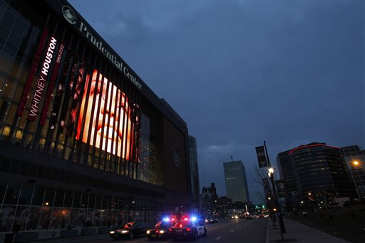 A tribute to Whitney Houston is displayed on the large video board outside the Prudential Center in Newark, N.J., on Tuesday.