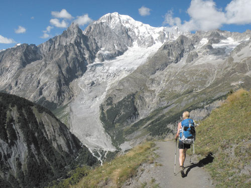 WHAT A VIEW: The Tour du Mont Blanc is a 170-kilometer hike around the Mont Blanc Massif — through France, Italy and Switzerland — that offers spectacular views as travelers follow a graded, well-marked path.