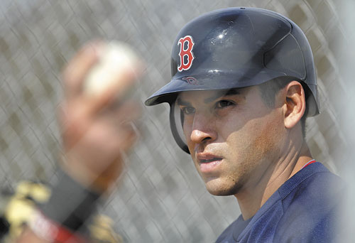 READY TO GO AGAIN: Boston's Jacoby Ellsbury takes batting practice during spring training Sunday in Fort Myers, Fla. Ellsbury hit .321 with 32 home runs, 105 RBIs and 39 stolen bases last year.