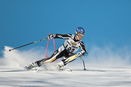 TEAM LEADER: Maranacook's Alec Daigle claims third place in Wednesday's Kennebec Valley Athletic Conference giant slalom championship race at Black Mountain in Rumford. Daigle's effort helped the Black Bear boys move into first place in Alpine racing after Day 1 of the conference championships.