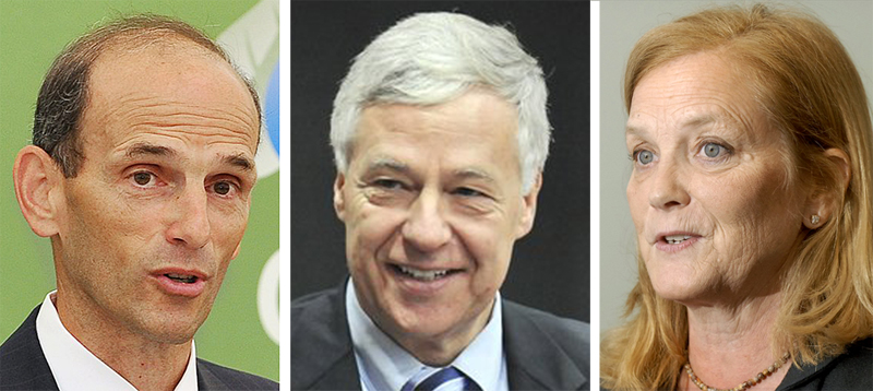 Former Gov. John Baldacci, left, U.S. Rep. Mike Michaud, center, and U.S. Rep. Chellie Pingree, all Maine Democrats, have taken out papers to run for Olympia Snowe's Senate seat. In a shock to the political world, Snowe announced her retirement on Tuesday.
