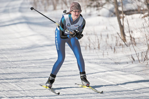 NORDIC UPSTART: Monmouth Academy freshman Becki Bryant skied to a third-place finish in the 5K freestyle Nordic race Wednesday at Black Mountain, helping the Mustangs, in their first year of existence, move into second place in the Mountain Valley Conference Nordic championships.