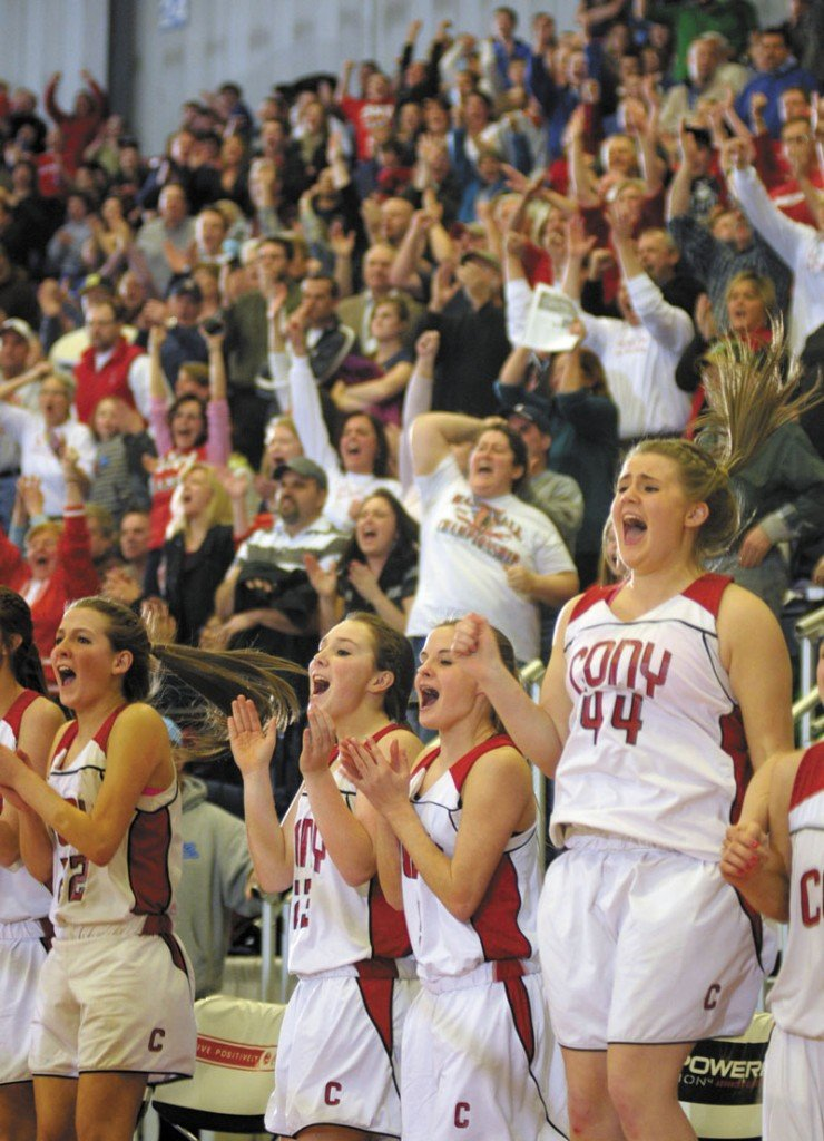 Cony players fans celebrate as time runs out and they win the Class A East championship game on Friday night at the Augusta Civic Center.