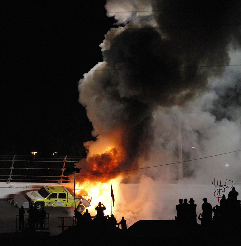 SCARY SIGHT: Fuel in a jet dryer burns after Juan Pablo Montoya's car slewed sideways and struck it during a caution period in the Daytona 500 on Monday night in Daytona Beach, Fla.