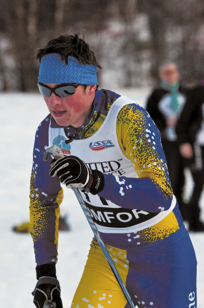PERFECT CONDITIONS: Mt. Blue sophomore Dustin Staples skied to a second-place finish in Wednesday's Nordic classical race to help the Mt. Blue boys take an early lead in the Class A state ski championship races at Black Mountain.