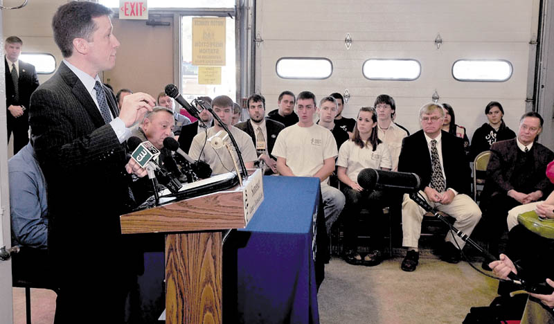 CHANGES: Education Commissioner Stephen Bowen addresses students and educators on proposed legislation that would allow public funding of religious schools, change teacher evaluations and provide students greater school choice and expand technical education on Wednesday at the Somerset Career & Technical Center in Skowhegan. Gov. Paul LePage, behind Bowen, also attended the announcement.