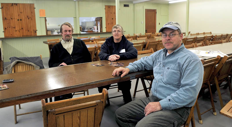 RESURRECTION: These organizers and others have helped renovate a multi-use room and commercial kitchen in the basement of the Farmington Grange Hall. The project could give a major boost to area farmers and further develop a local food movement. From left are Steve Scharoun, Bonnie Clark and Richard Marble.