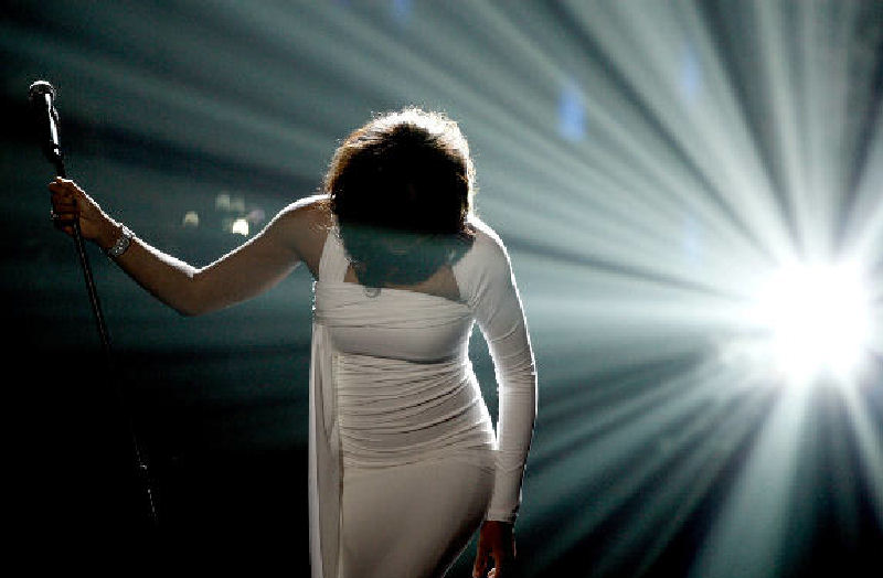 Whitney Houston performs onstage at the 37th Annual American Music Awards in Los Angeles in November 2009.
