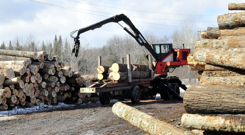 VALUABLE WOOD: Premium Log Yard Inc. employee John Fickett operates a crane at the North Anson company on Thursday. Earlier this week, thieves used the crane to load three bundles of furniture grade curly maple boards onto a trailer and also stole tools from the business.