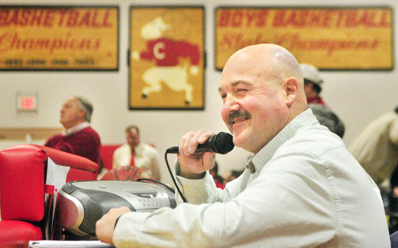 STEPPING AWAY: Mike Hopkins has been the basketball announcer for 25 years at Cony High School in Augusta. He did his last regular-season game there on Thursday evening.
