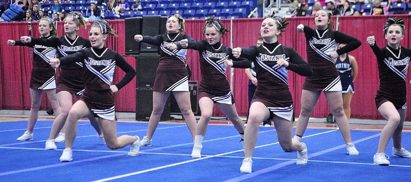 The Monmouth Academy Mustangs dance during the state cheerleading championships on Saturday at the Augusta Civic Center.