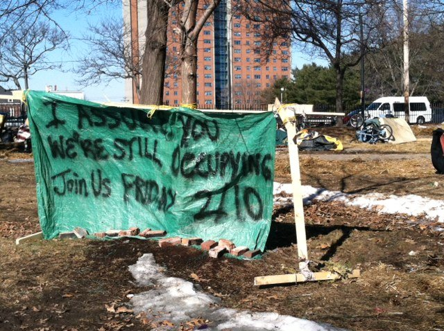 A sign posted today at what remains of the Occupy Maine encampment in Portland's Lincoln Park.