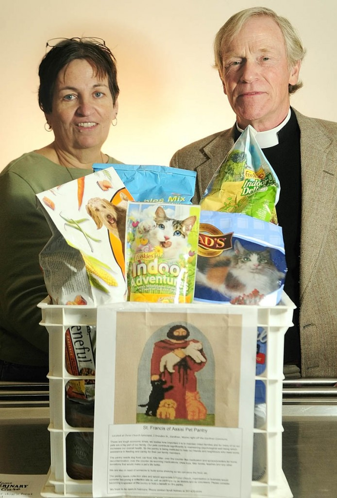 Syndi Holmes, left, and the Rev. George Lambert are planning to open the St. Francis of Assisi Pet Pantry at Christ Church Episcopal in Gardiner.
