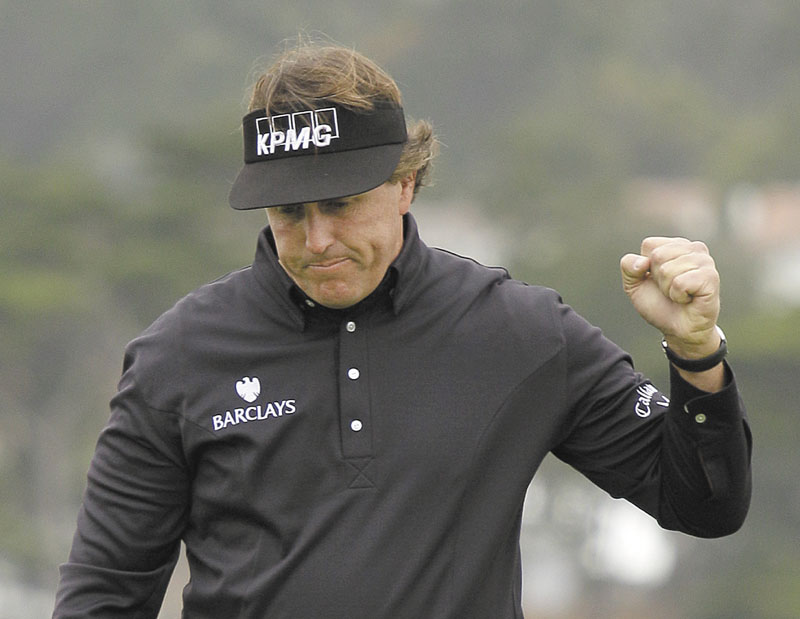 YES: Phil Mickelson reacts after making an eagle putt on the sixth hole at Pebble Beach Golf Links on Sunday during the final round of the AT&T Pebble Beach National Pro-Am in Pebble Beach, Calif.