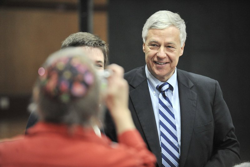 This November photo shows U.S. Representative Mike Michaud, of Maine's 2nd District. Michaud headlined a fundraiser Saturday for Jeremy Gilley, a 27-year-old Army veteran who lost both his legs.